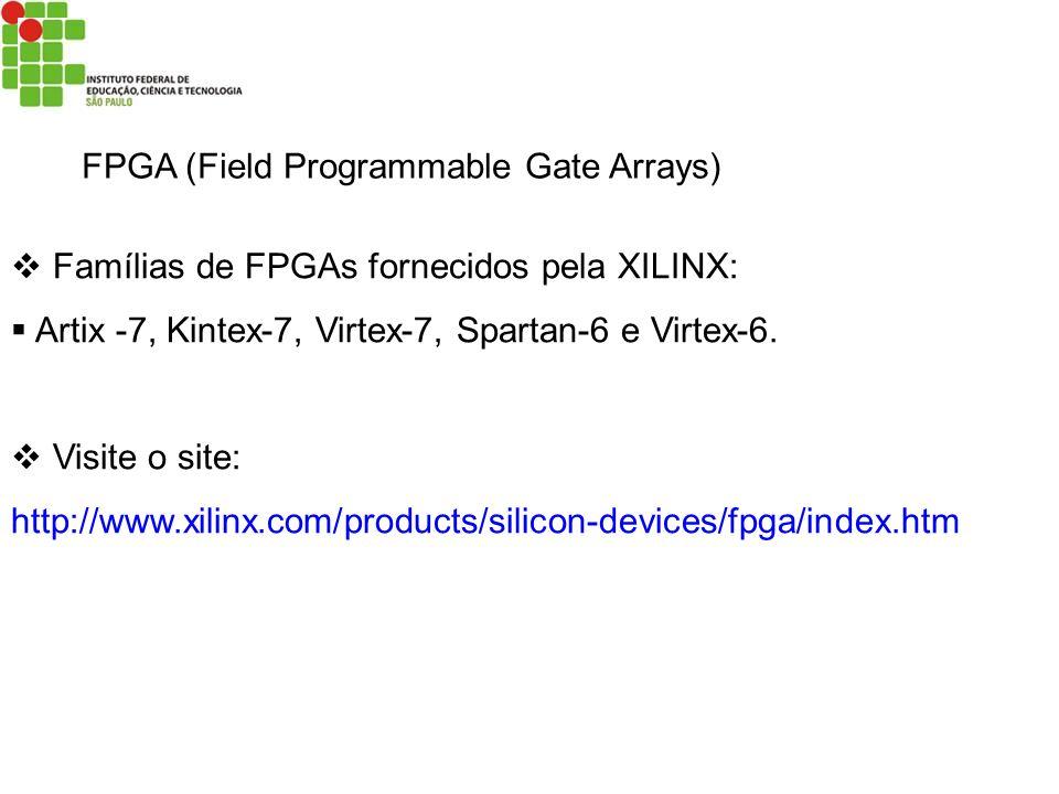 FPGA (Field Programmable Gate Arrays) Famílias de FPGAs fornecidos pela XILINX: Artix -7, Kintex-7, Virtex-7, Spartan-6 e Virtex-6. Visite o site: htt