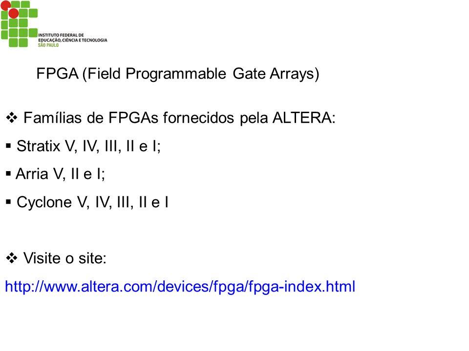 FPGA (Field Programmable Gate Arrays) Famílias de FPGAs fornecidos pela ALTERA: Stratix V, IV, III, II e I; Arria V, II e I; Cyclone V, IV, III, II e