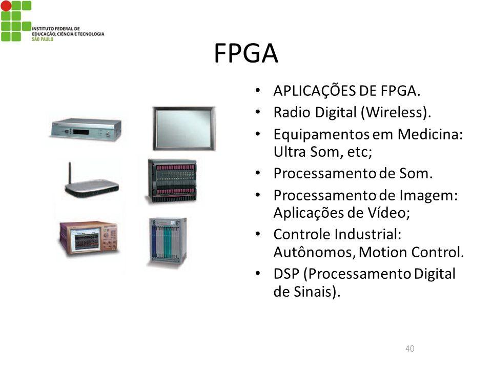 40 FPGA APLICAÇÕES DE FPGA. Radio Digital (Wireless). Equipamentos em Medicina: Ultra Som, etc; Processamento de Som. Processamento de Imagem: Aplicaç