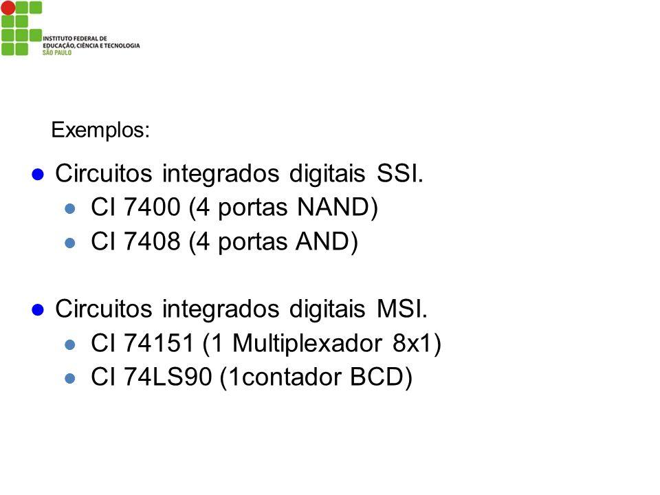 Circuitos integrados digitais SSI. CI 7400 (4 portas NAND) CI 7408 (4 portas AND) Circuitos integrados digitais MSI. CI 74151 (1 Multiplexador 8x1) CI
