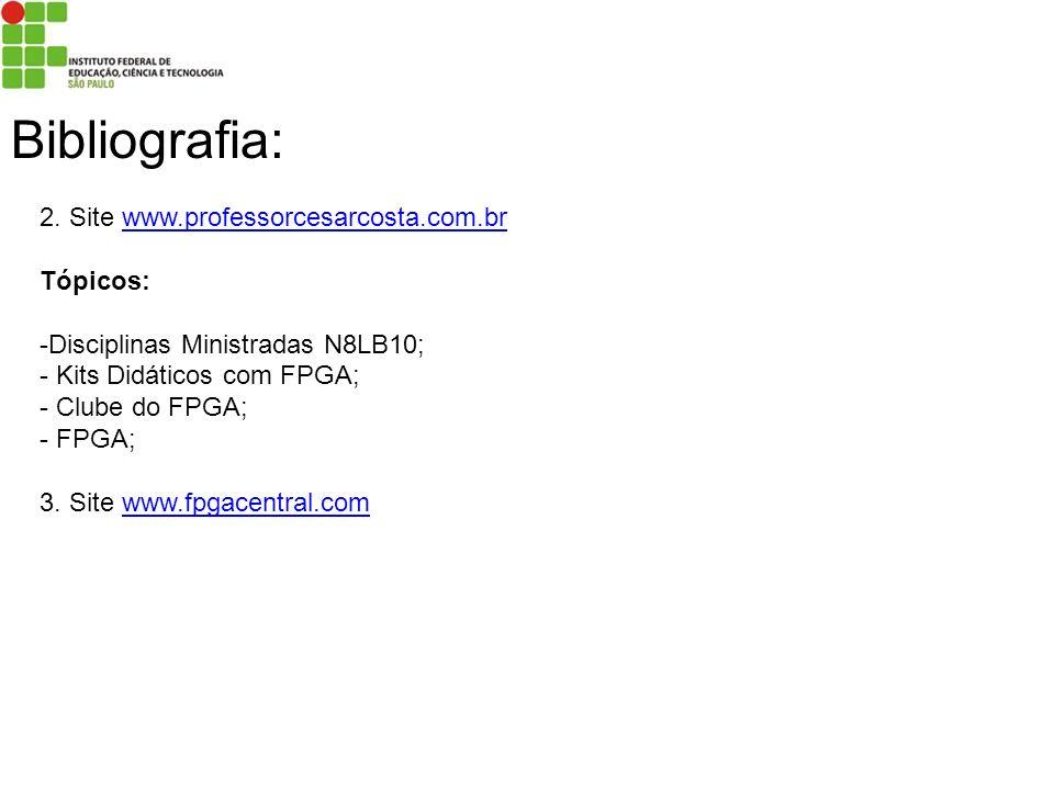 Bibliografia: 2. Site www.professorcesarcosta.com.brwww.professorcesarcosta.com.br Tópicos: -Disciplinas Ministradas N8LB10; - Kits Didáticos com FPGA