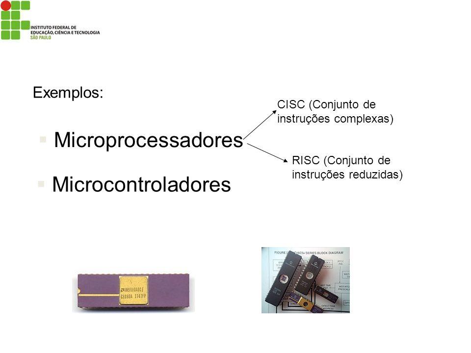 Microprocessadores Microcontroladores CISC (Conjunto de instruções complexas) RISC (Conjunto de instruções reduzidas) Exemplos: