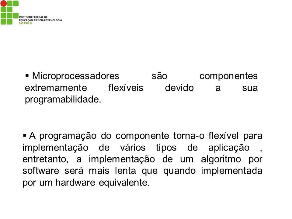 Microprocessadores são componentes extremamente flexíveis devido a sua programabilidade. A programação do componente torna-o flexível para implementaç
