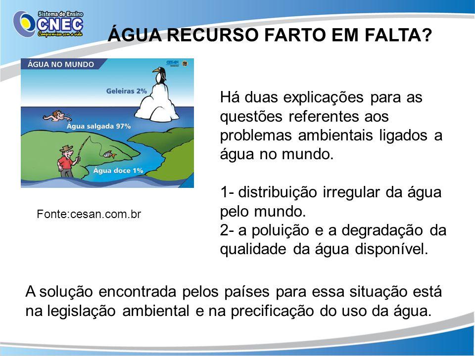 ÁGUA RECURSO FARTO EM FALTA? Fonte:cesan.com.br Há duas explicações para as questões referentes aos problemas ambientais ligados a água no mundo. 1- d