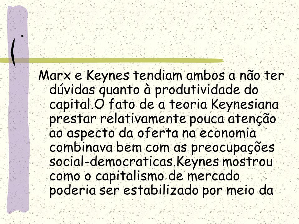 . Marx e Keynes tendiam ambos a não ter dúvidas quanto à produtividade do capital.O fato de a teoria Keynesiana prestar relativamente pouca atenção ao