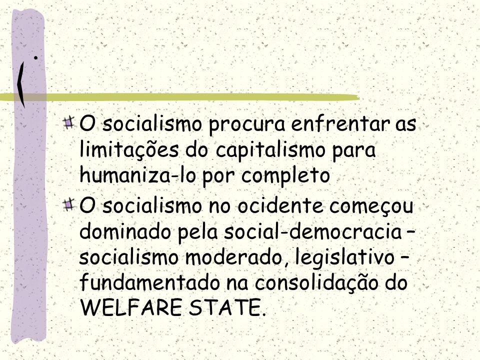 . O socialismo procura enfrentar as limitações do capitalismo para humaniza-lo por completo O socialismo no ocidente começou dominado pela social-demo