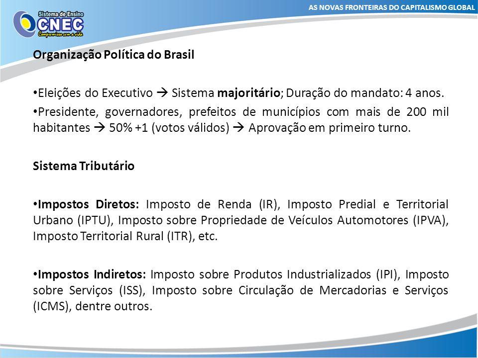 AS NOVAS FRONTEIRAS DO CAPITALISMO GLOBAL Organização Política do Brasil Eleições do Executivo Sistema majoritário; Duração do mandato: 4 anos. Presid