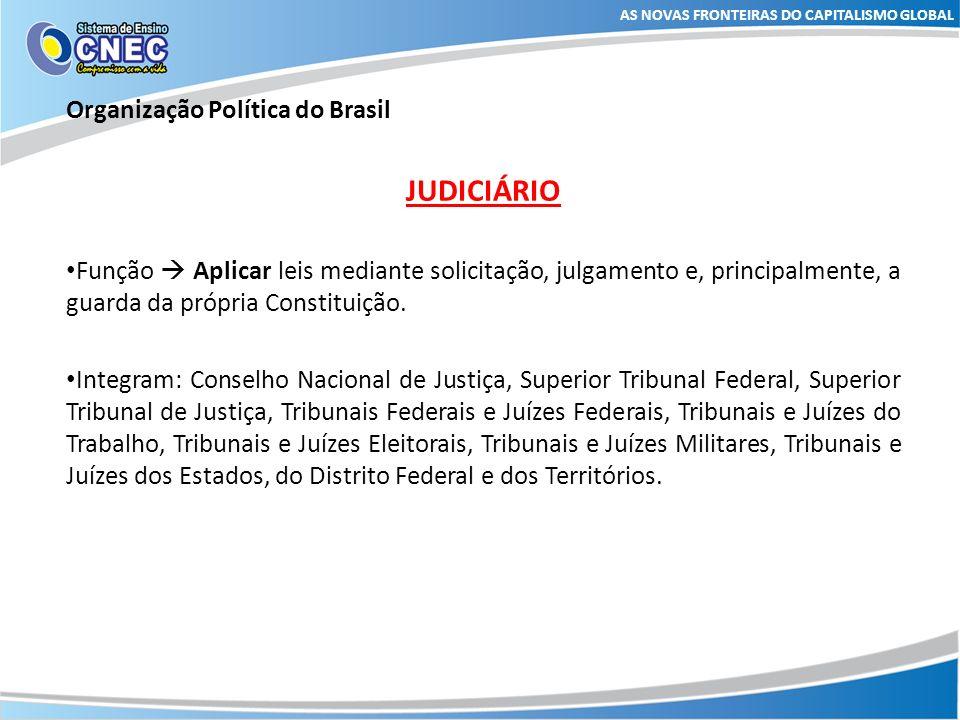AS NOVAS FRONTEIRAS DO CAPITALISMO GLOBAL Organização Política do Brasil JUDICIÁRIO Função Aplicar leis mediante solicitação, julgamento e, principalm