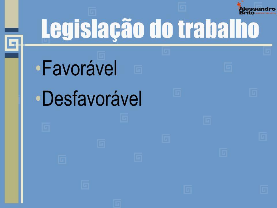 Legislação do trabalho Favorável Desfavorável