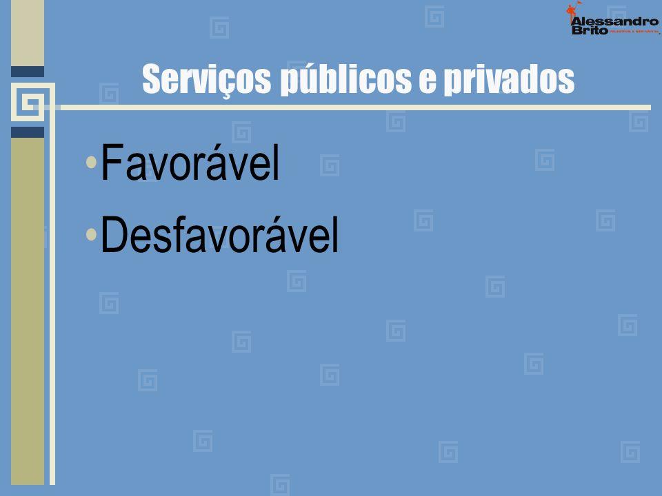 Serviços públicos e privados Favorável Desfavorável