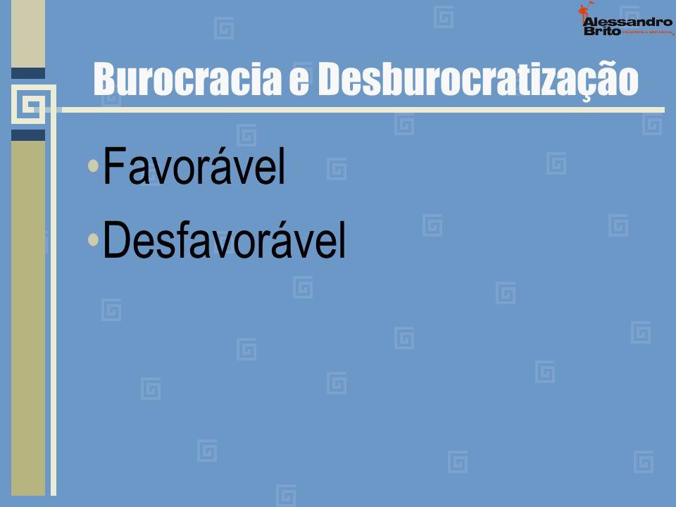 Burocracia e Desburocratização Favorável Desfavorável
