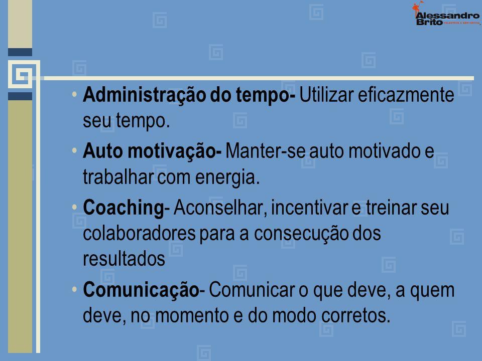 Administração do tempo- Utilizar eficazmente seu tempo. Auto motivação- Manter-se auto motivado e trabalhar com energia. Coaching - Aconselhar, incent