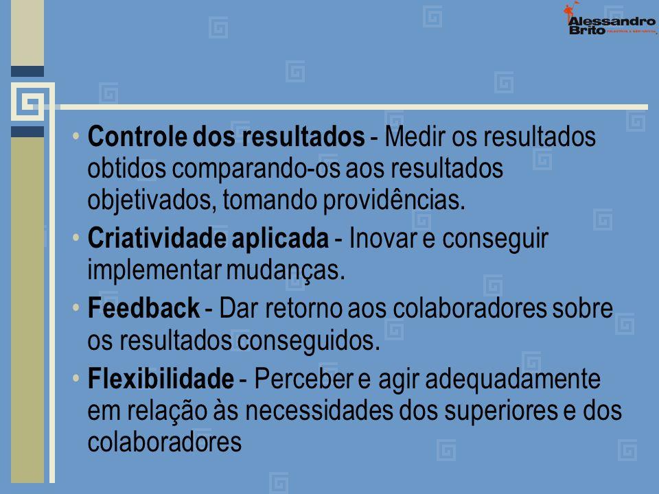 Controle dos resultados - Medir os resultados obtidos comparando-os aos resultados objetivados, tomando providências. Criatividade aplicada - Inovar e