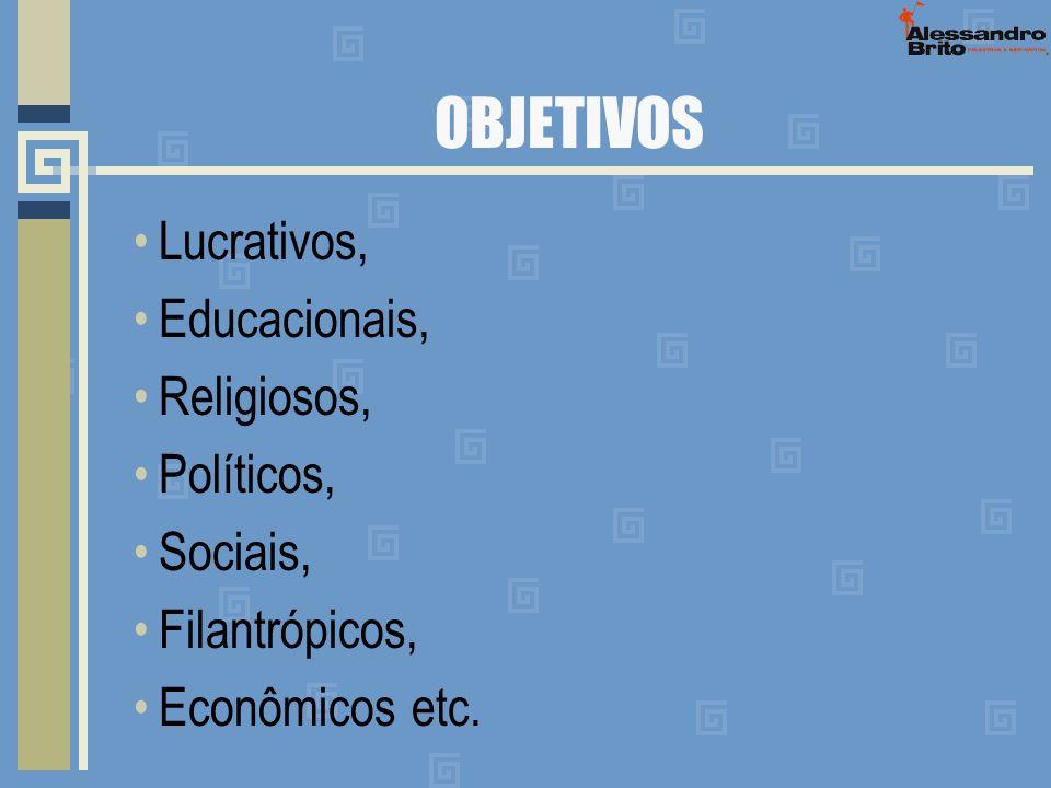 OBJETIVOS Lucrativos, Educacionais, Religiosos, Políticos, Sociais, Filantrópicos, Econômicos etc.