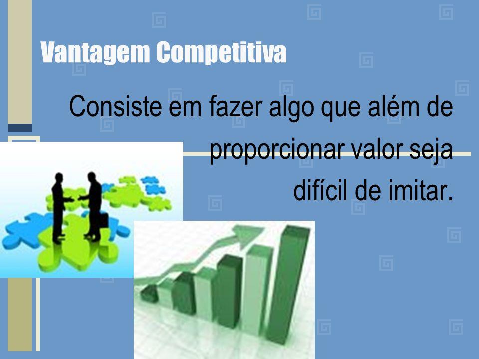 Vantagem Competitiva Consiste em fazer algo que além de proporcionar valor seja difícil de imitar.
