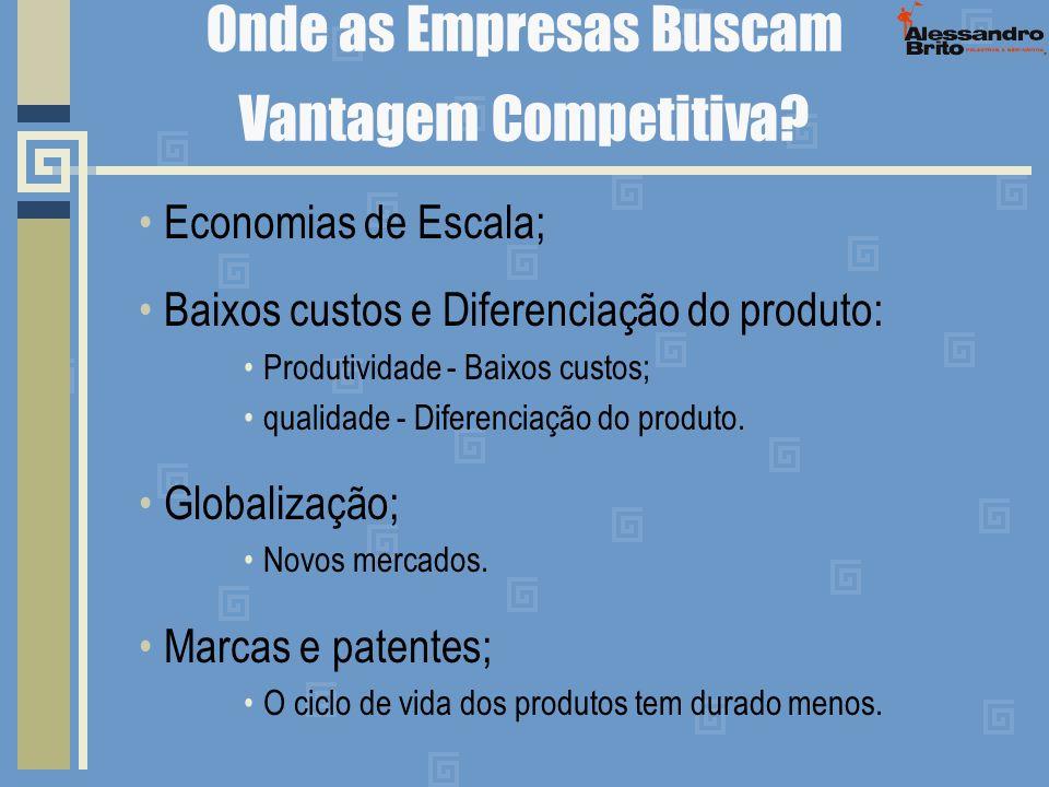 Onde as Empresas Buscam Vantagem Competitiva? Economias de Escala; Baixos custos e Diferenciação do produto: Produtividade - Baixos custos; qualidade