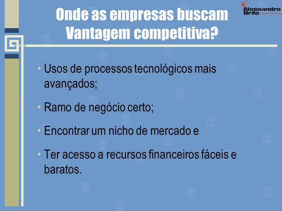 Onde as empresas buscam Vantagem competitiva? Usos de processos tecnológicos mais avançados; Ramo de negócio certo; Encontrar um nicho de mercado e Te