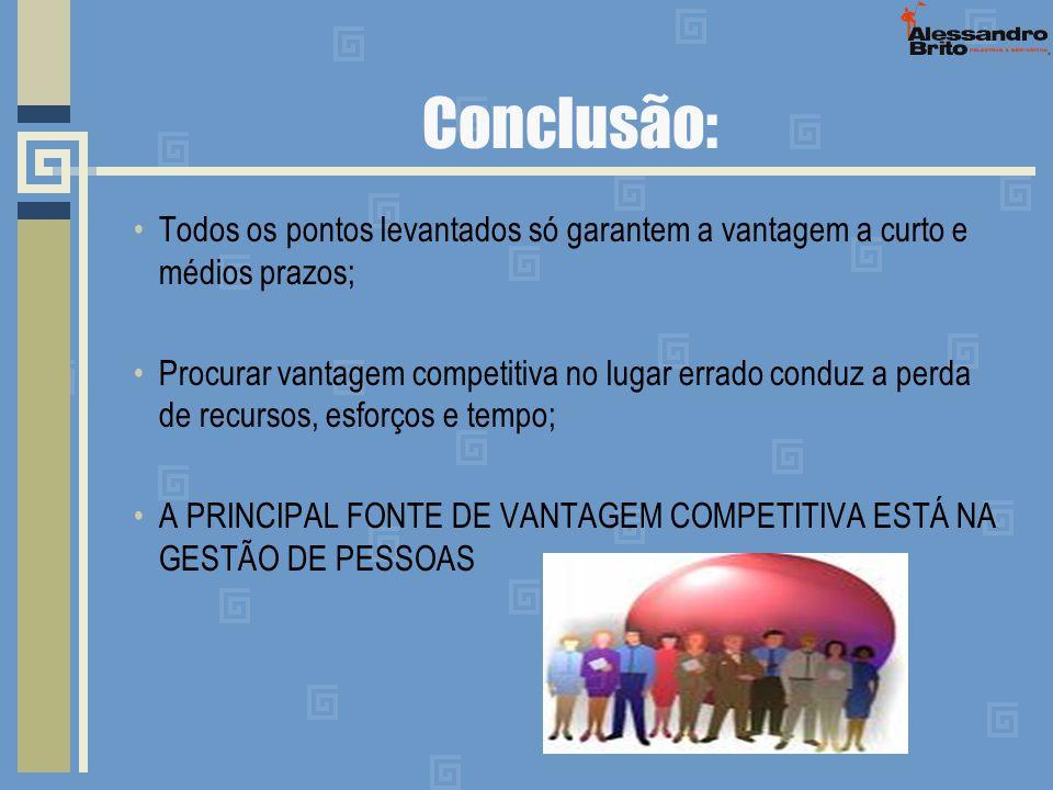 Conclusão: Todos os pontos levantados só garantem a vantagem a curto e médios prazos; Procurar vantagem competitiva no lugar errado conduz a perda de
