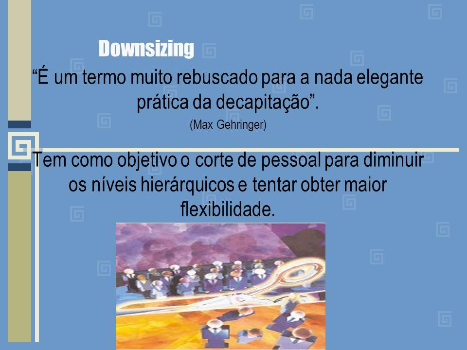 Downsizing É um termo muito rebuscado para a nada elegante prática da decapitação. (Max Gehringer) Tem como objetivo o corte de pessoal para diminuir