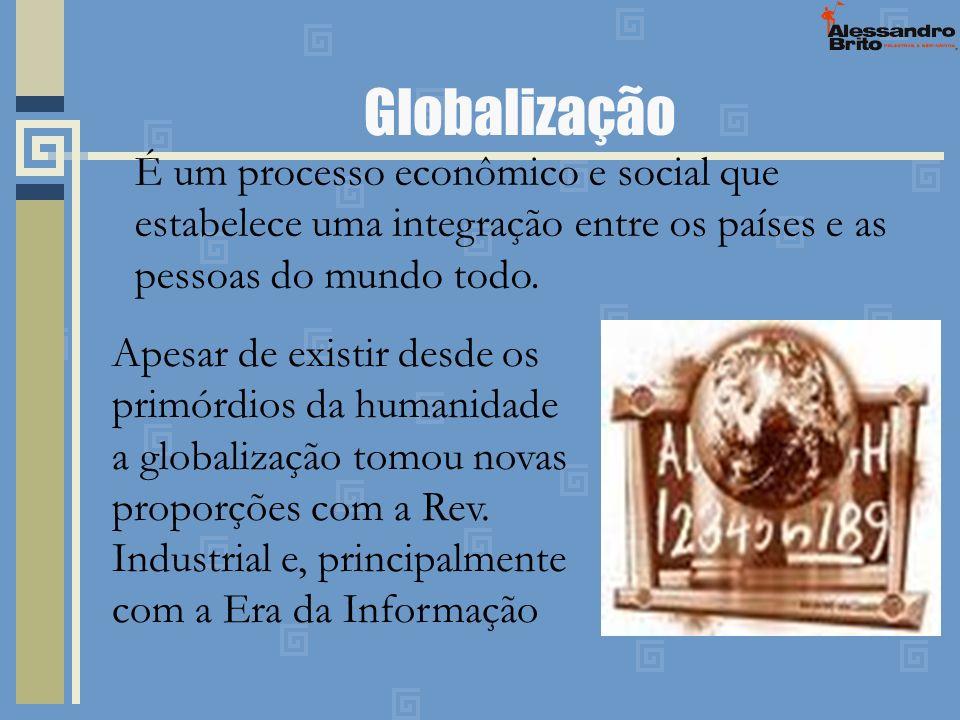 Globalização É um processo econômico e social que estabelece uma integração entre os países e as pessoas do mundo todo. Apesar de existir desde os pri