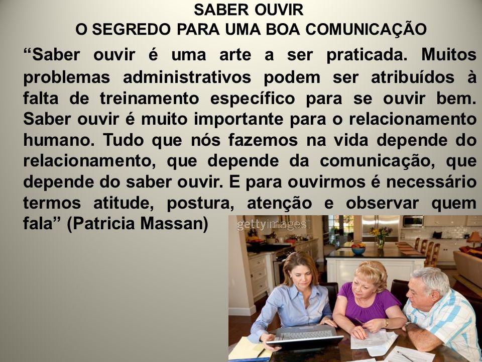 SABER OUVIR O SEGREDO PARA UMA BOA COMUNICAÇÃO Saber ouvir é uma arte a ser praticada. Muitos problemas administrativos podem ser atribuídos à falta d
