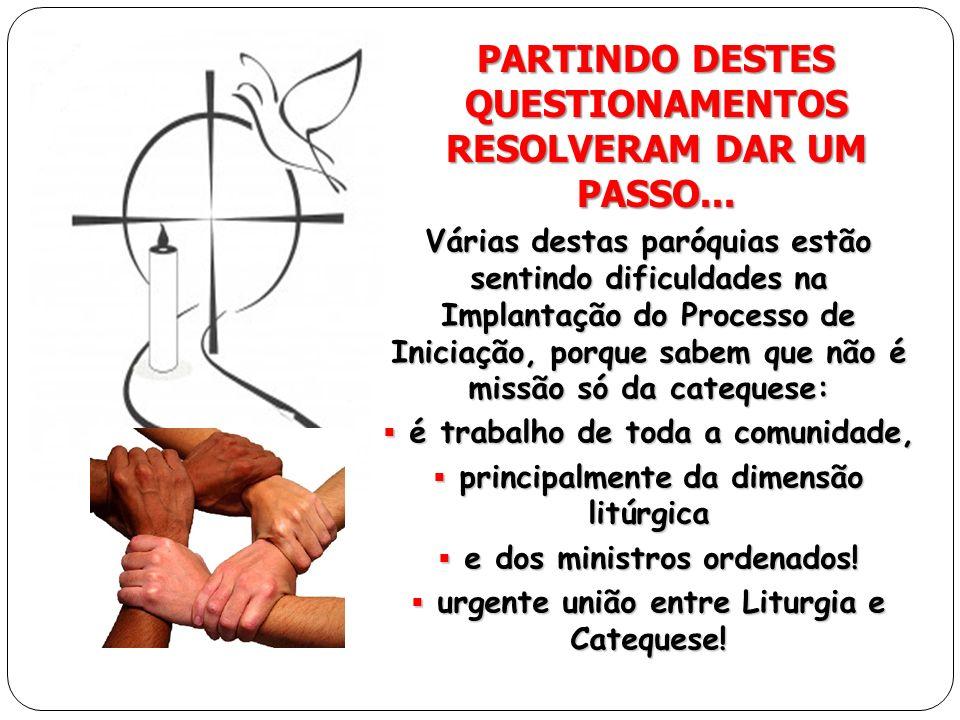 PARTINDO DESTES QUESTIONAMENTOS RESOLVERAM DAR UM PASSO... Várias destas paróquias estão sentindo dificuldades na Implantação do Processo de Iniciação