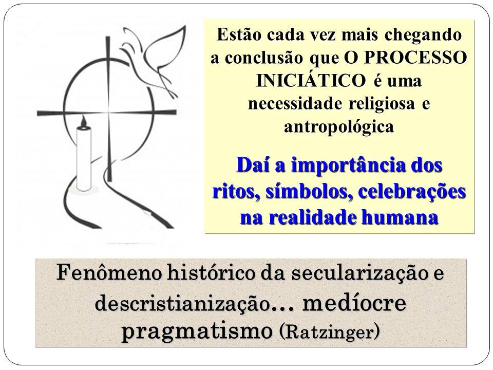 Estão cada vez mais chegando a conclusão que O PROCESSO INICIÁTICO é uma necessidade religiosa e antropológica Daí a importância dos ritos, símbolos, celebrações na realidade humana Fenômeno histórico da secularização e descristianização...