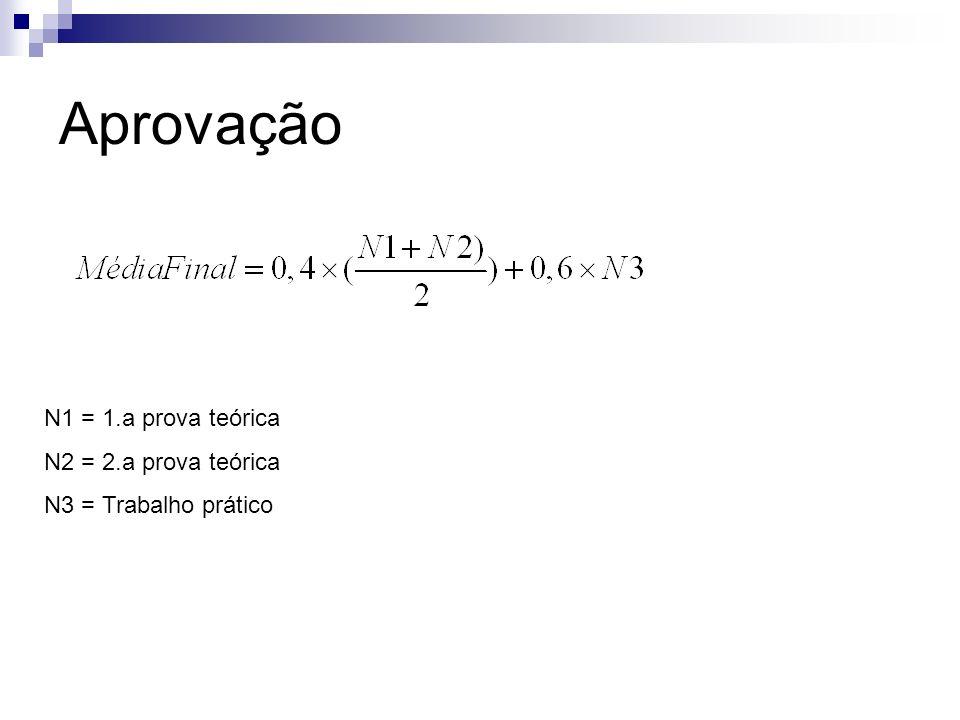 Aprovação N1 = 1.a prova teórica N2 = 2.a prova teórica N3 = Trabalho prático