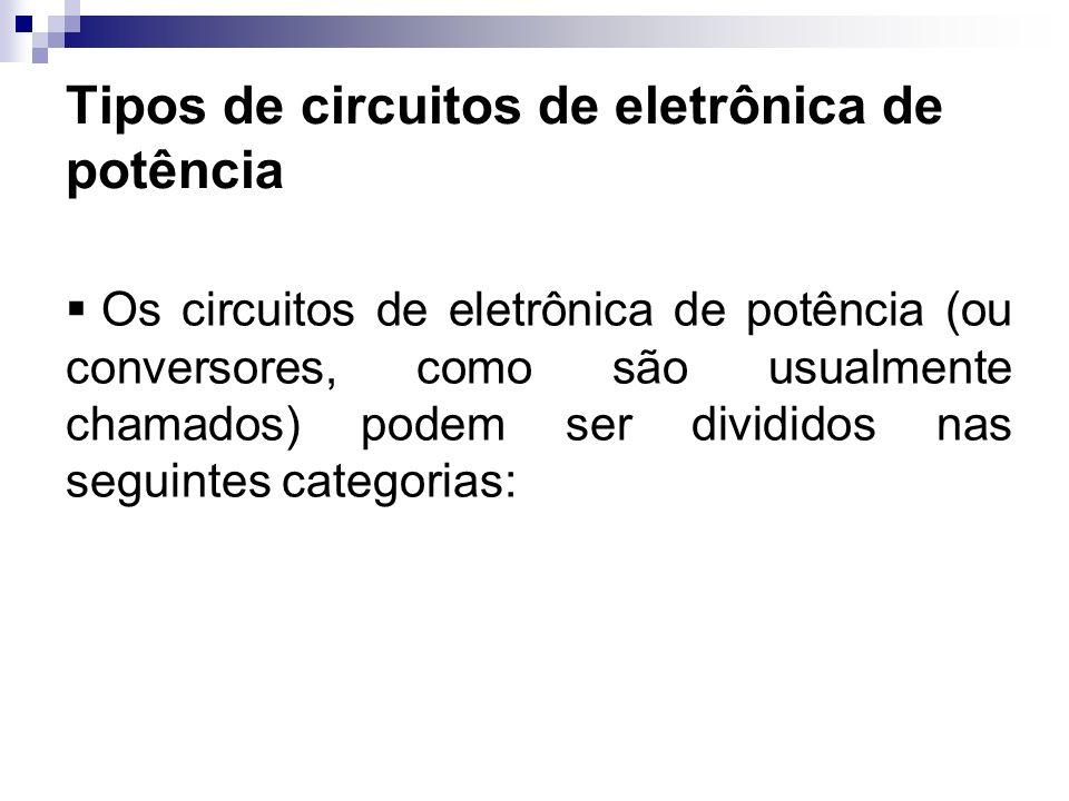 Tipos de circuitos de eletrônica de potência Os circuitos de eletrônica de potência (ou conversores, como são usualmente chamados) podem ser divididos