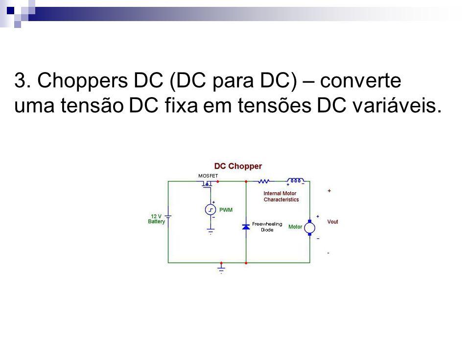 3. Choppers DC (DC para DC) – converte uma tensão DC fixa em tensões DC variáveis.