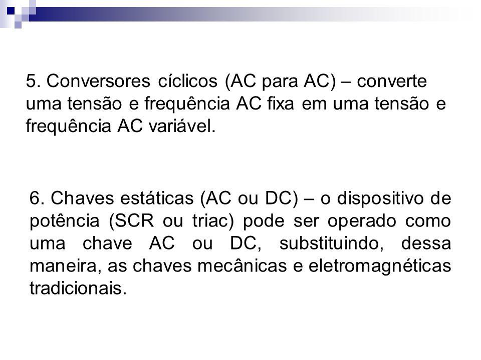 5. Conversores cíclicos (AC para AC) – converte uma tensão e frequência AC fixa em uma tensão e frequência AC variável. 6. Chaves estáticas (AC ou DC)
