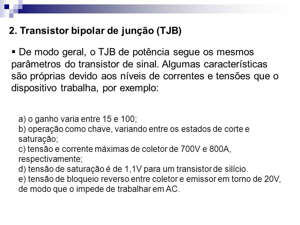 2. Transistor bipolar de junção (TJB) De modo geral, o TJB de potência segue os mesmos parâmetros do transistor de sinal. Algumas características são