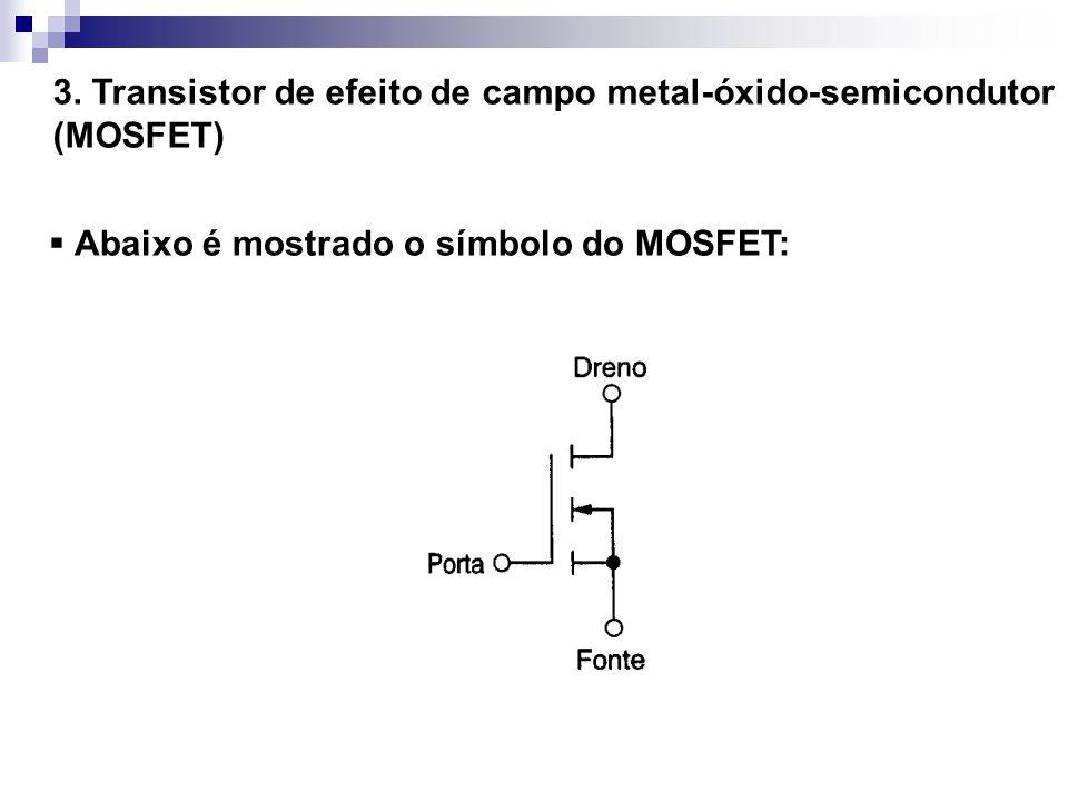 3. Transistor de efeito de campo metal-óxido-semicondutor (MOSFET) Abaixo é mostrado o símbolo do MOSFET: