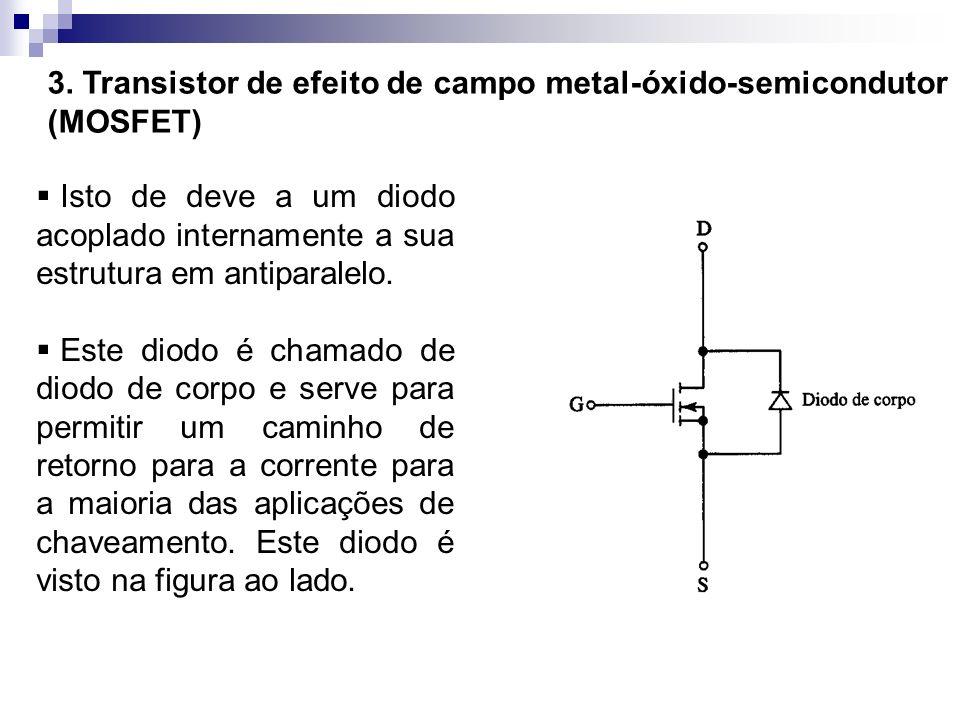3. Transistor de efeito de campo metal-óxido-semicondutor (MOSFET) Isto de deve a um diodo acoplado internamente a sua estrutura em antiparalelo. Este