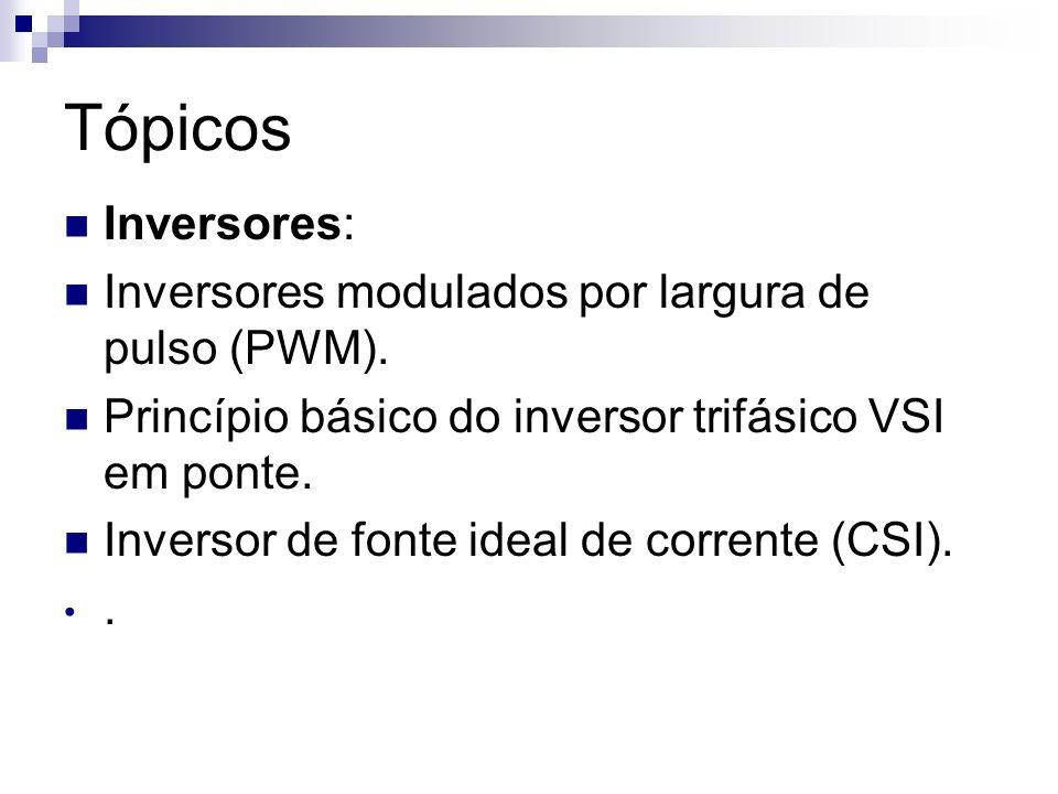 Tópicos Inversores: Inversores modulados por largura de pulso (PWM). Princípio básico do inversor trifásico VSI em ponte. Inversor de fonte ideal de c