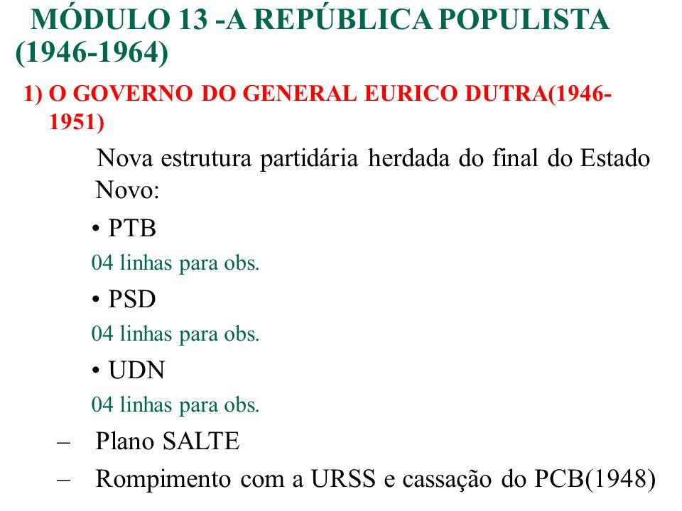 1)O GOVERNO DO GENERAL EURICO DUTRA(1946- 1951) Nova estrutura partidária herdada do final do Estado Novo: PTB 04 linhas para obs. PSD 04 linhas para