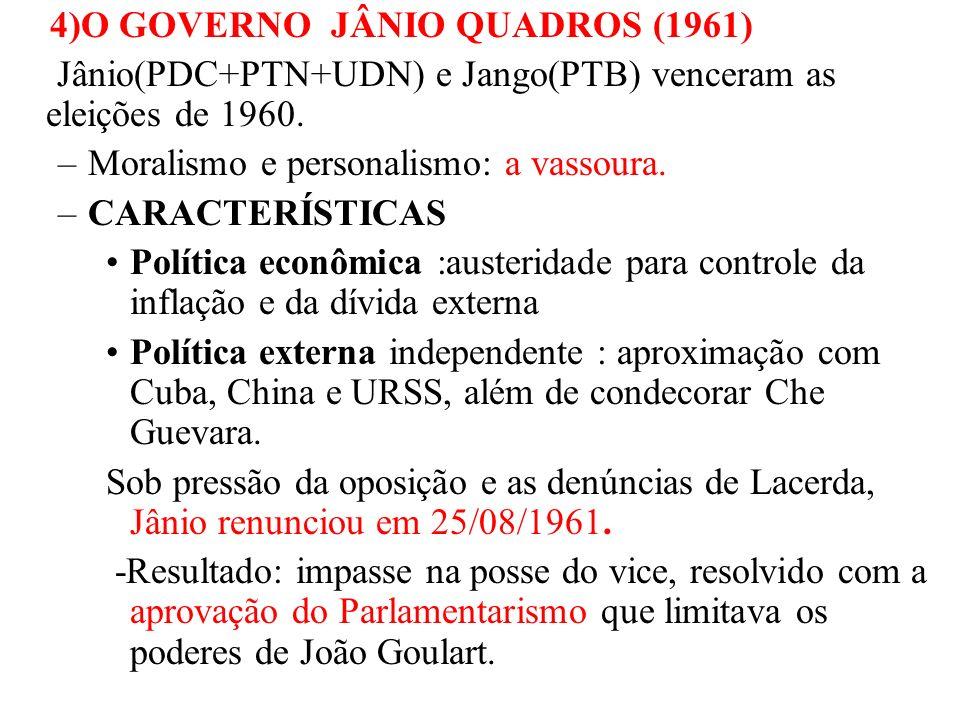 4)O GOVERNO JÂNIO QUADROS (1961) Jânio(PDC+PTN+UDN) e Jango(PTB) venceram as eleições de 1960. –Moralismo e personalismo: a vassoura. –CARACTERÍSTICAS