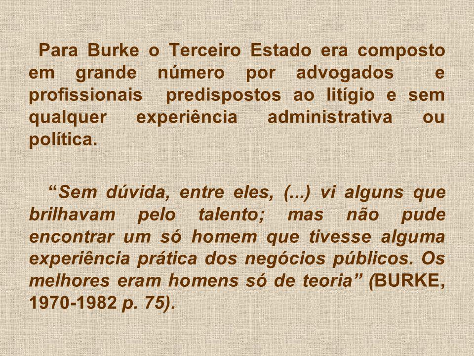 Para Burke o Terceiro Estado era composto em grande número por advogados e profissionais predispostos ao litígio e sem qualquer experiência administrativa ou política.