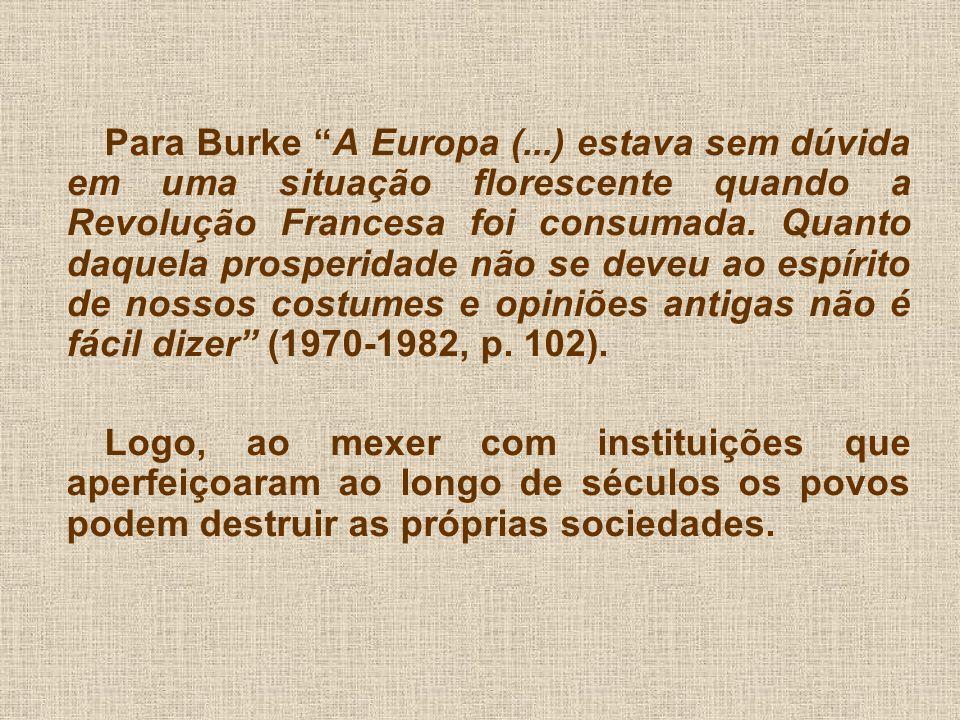 Para Burke A Europa (...) estava sem dúvida em uma situação florescente quando a Revolução Francesa foi consumada. Quanto daquela prosperidade não se