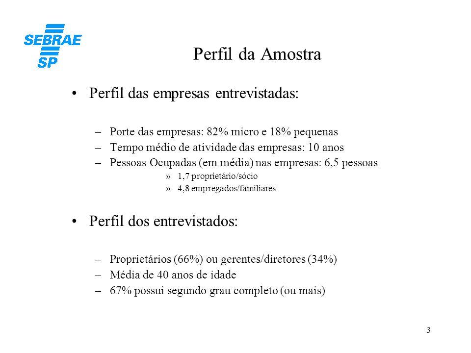3 Perfil da Amostra Perfil das empresas entrevistadas: –Porte das empresas: 82% micro e 18% pequenas –Tempo médio de atividade das empresas: 10 anos –