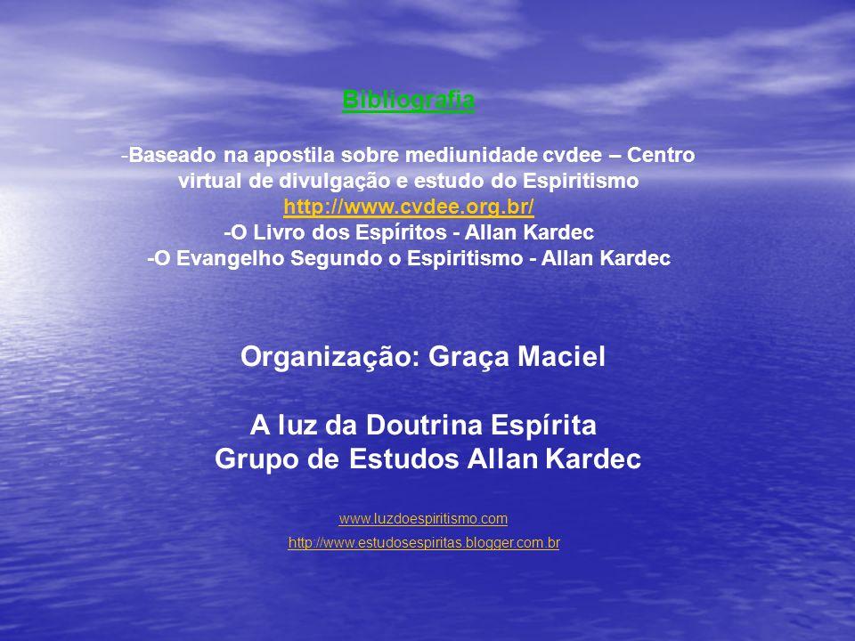 Bibliografia -Baseado na apostila sobre mediunidade cvdee – Centro virtual de divulgação e estudo do Espiritismo http://www.cvdee.org.br/ http://www.c