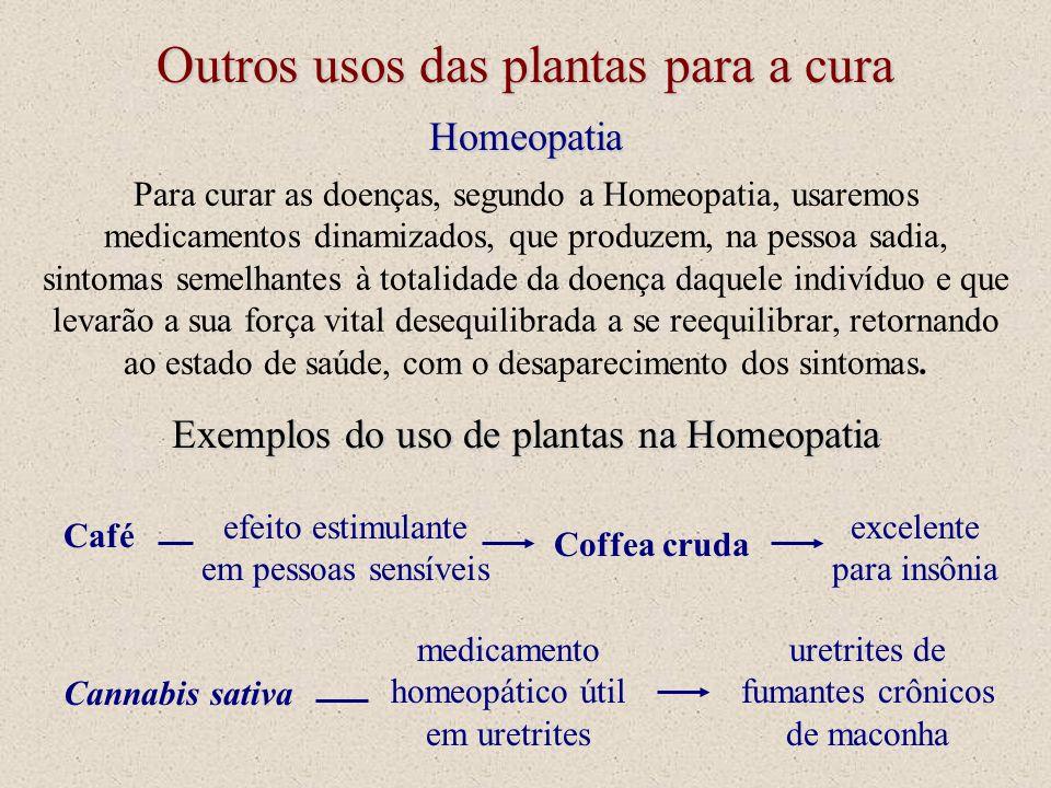 Para curar as doenças, segundo a Homeopatia, usaremos medicamentos dinamizados, que produzem, na pessoa sadia, sintomas semelhantes à totalidade da do