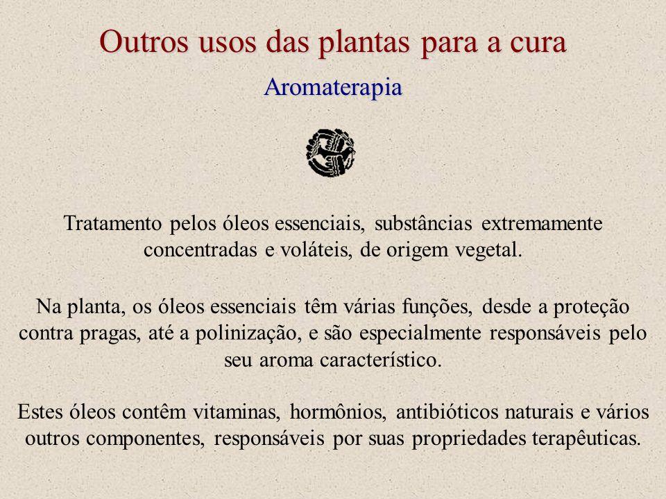 Outros usos das plantas para a cura Aromaterapia Tratamento pelos óleos essenciais, substâncias extremamente concentradas e voláteis, de origem vegeta