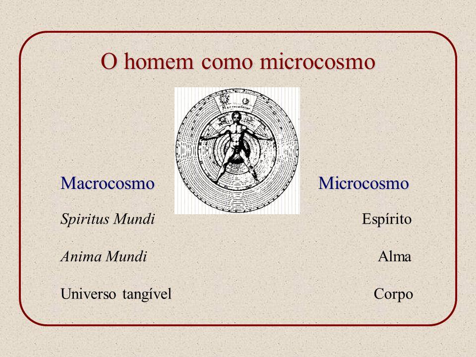 O homem como microcosmo MacrocosmoMicrocosmo Spiritus MundiEspírito Anima MundiAlma Universo tangívelCorpo