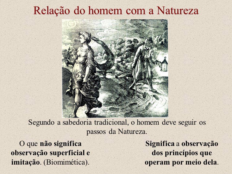 Relação do homem com a Natureza Segundo a sabedoria tradicional, o homem deve seguir os passos da Natureza. O que não significa observação superficial