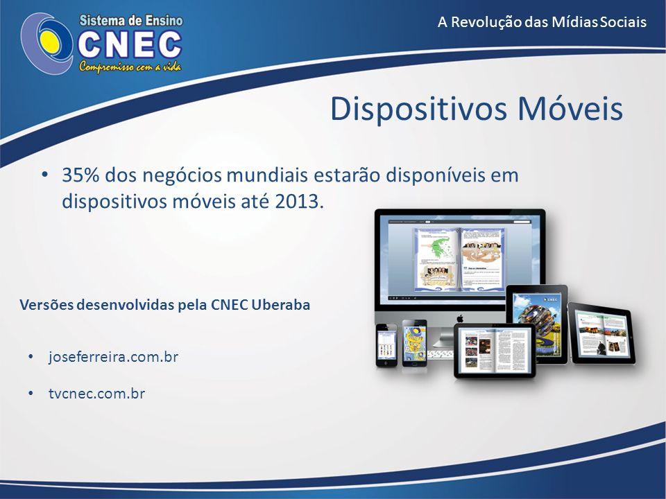 A Revolução das Mídias Sociais 35% dos negócios mundiais estarão disponíveis em dispositivos móveis até 2013. Dispositivos Móveis joseferreira.com.br