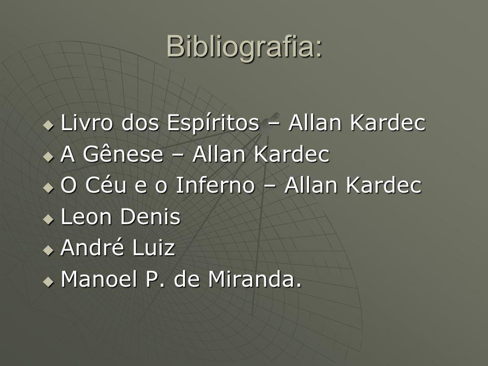 Bibliografia: Livro dos Espíritos – Allan Kardec Livro dos Espíritos – Allan Kardec A Gênese – Allan Kardec A Gênese – Allan Kardec O Céu e o Inferno