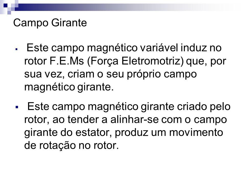 Este campo magnético variável induz no rotor F.E.Ms (Força Eletromotriz) que, por sua vez, criam o seu próprio campo magnético girante. Este campo mag