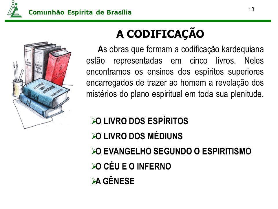 13 Comunhão Espírita de Brasília A s obras que formam a codificação kardequiana estão representadas em cinco livros. Neles encontramos os ensinos dos