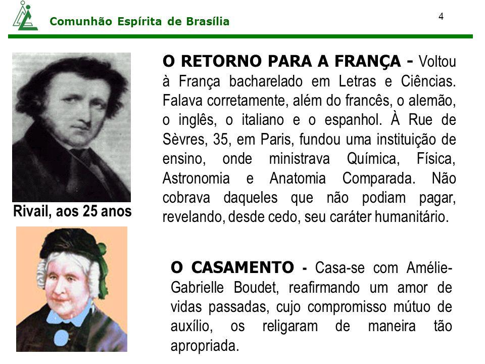 4 Comunhão Espírita de Brasília O RETORNO PARA A FRANÇA - Voltou à França bacharelado em Letras e Ciências. Falava corretamente, além do francês, o al